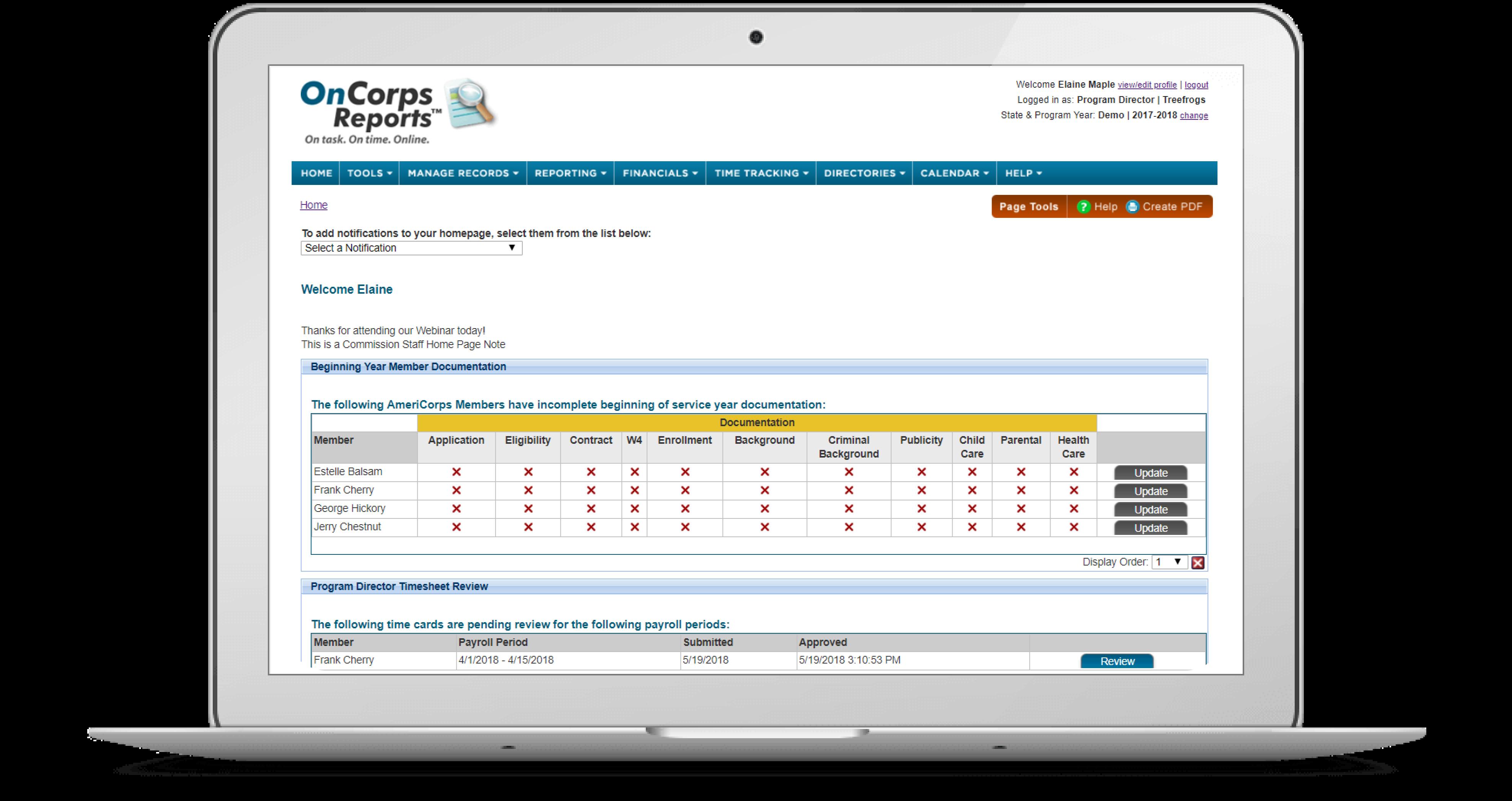 oncorpsreports com login
